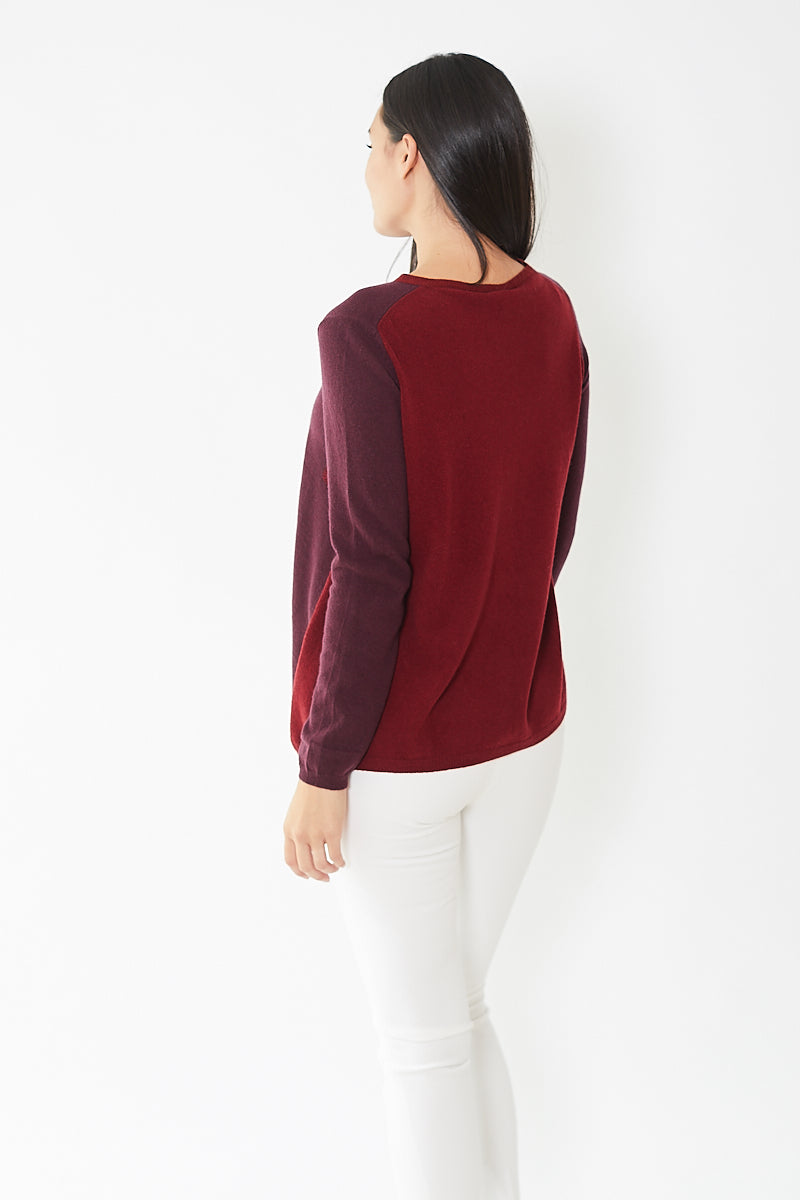 Rossopuro Front Patterned Plain Back Baseball Sweater