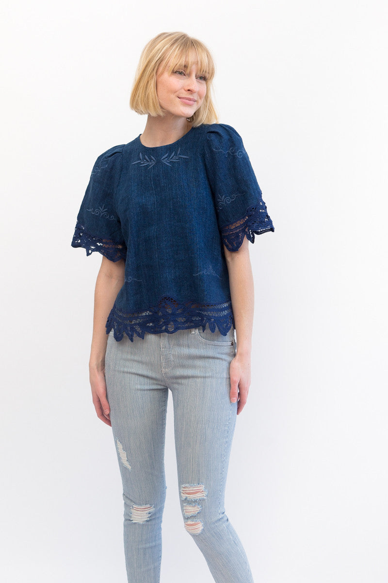 Sea NY Battenburg Puff Sleeve Top