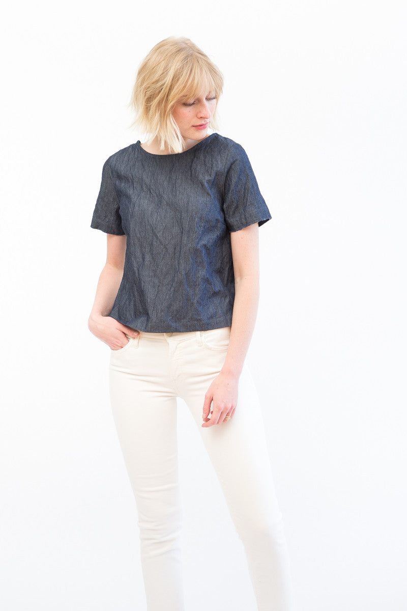 Sea NY Button Back Lace Combo Top