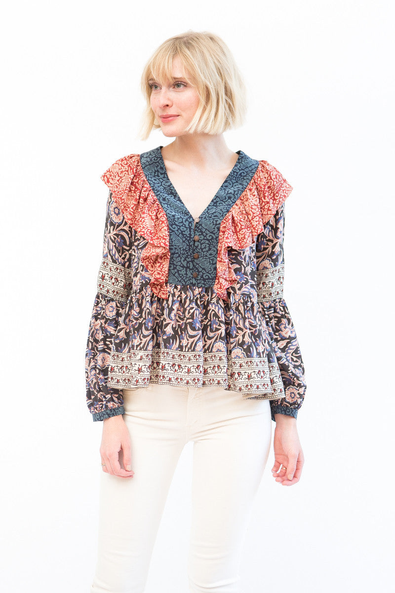 Sea NY Mixed Print Flutter Blouse