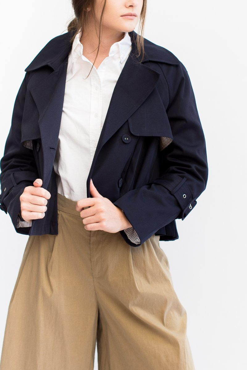 Sea NY Pleated Crop Trench