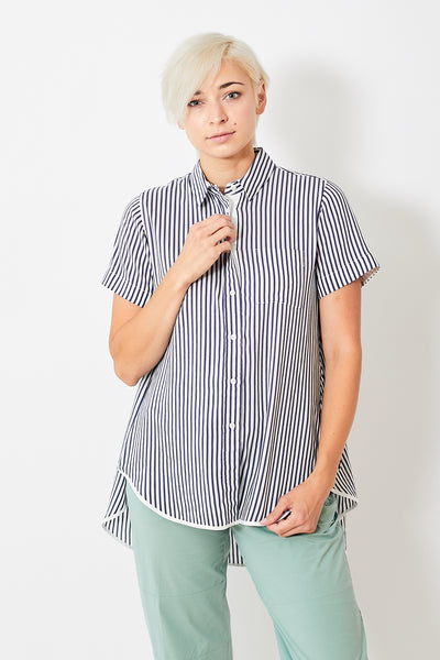 Seventy High Low Short Sleeve Button Down Shirt