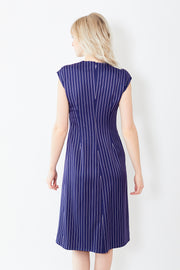 Sies Marjan Edie Pinstripe Stretch Satin S/S Wrap Dress