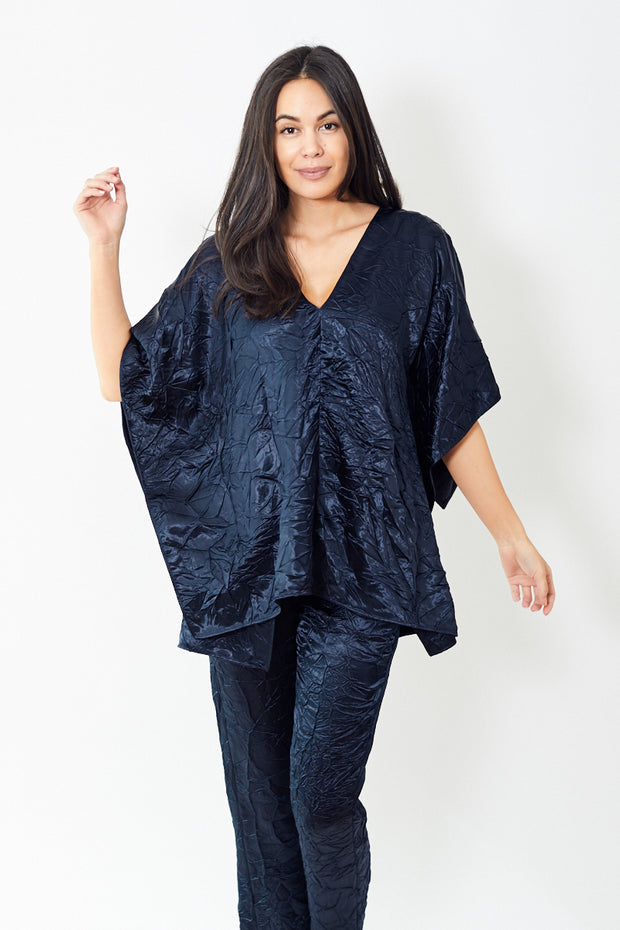 Sies Marjan May Crinkled Satin V Neck Tunic