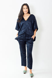 Sies Marjan Willa Crinkled Satin Cropped Pants