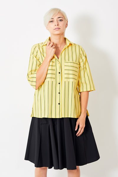 Smarteez Cropped Sleeve A Line Button Down