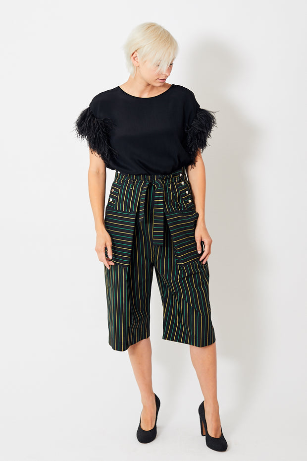 Smarteez Cropped Stripe Paperbag Trousers