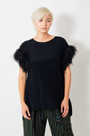 Smarteez Feather Sleeve Open Back Top
