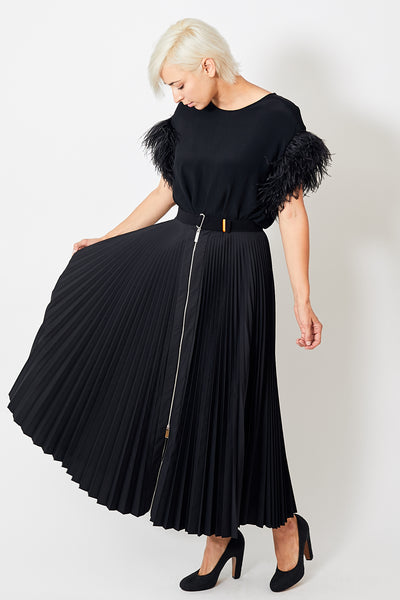 Smarteez Pleated Zipper Maxi Skirt