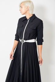 Smarteez Pleated Zipper Shirtdress w/ Belt