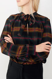 Smarteez Plaid Neck Tie Blouse