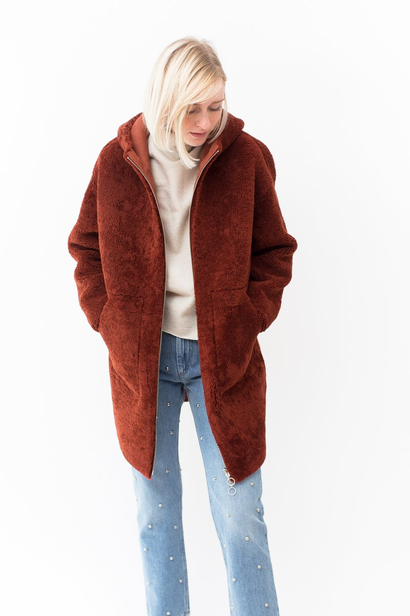 Sprung Maney Hooded Lamb Coat