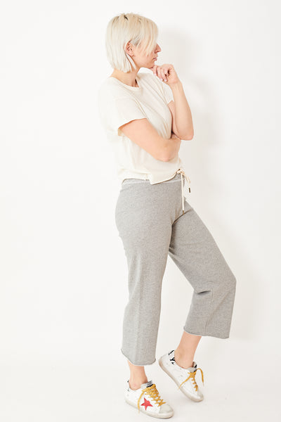 The Great The Wide Leg Cropped Sweatpant
