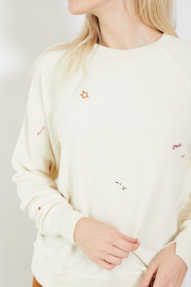 The Great The College Sweatshirt with Doodle Embroidery