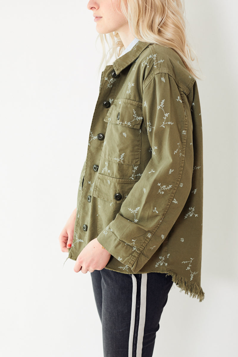 The Great The Frayed Lieutenant Jacket with Sprig Print