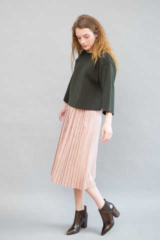 Tomorrowland Eco Suede Pleat Skirt