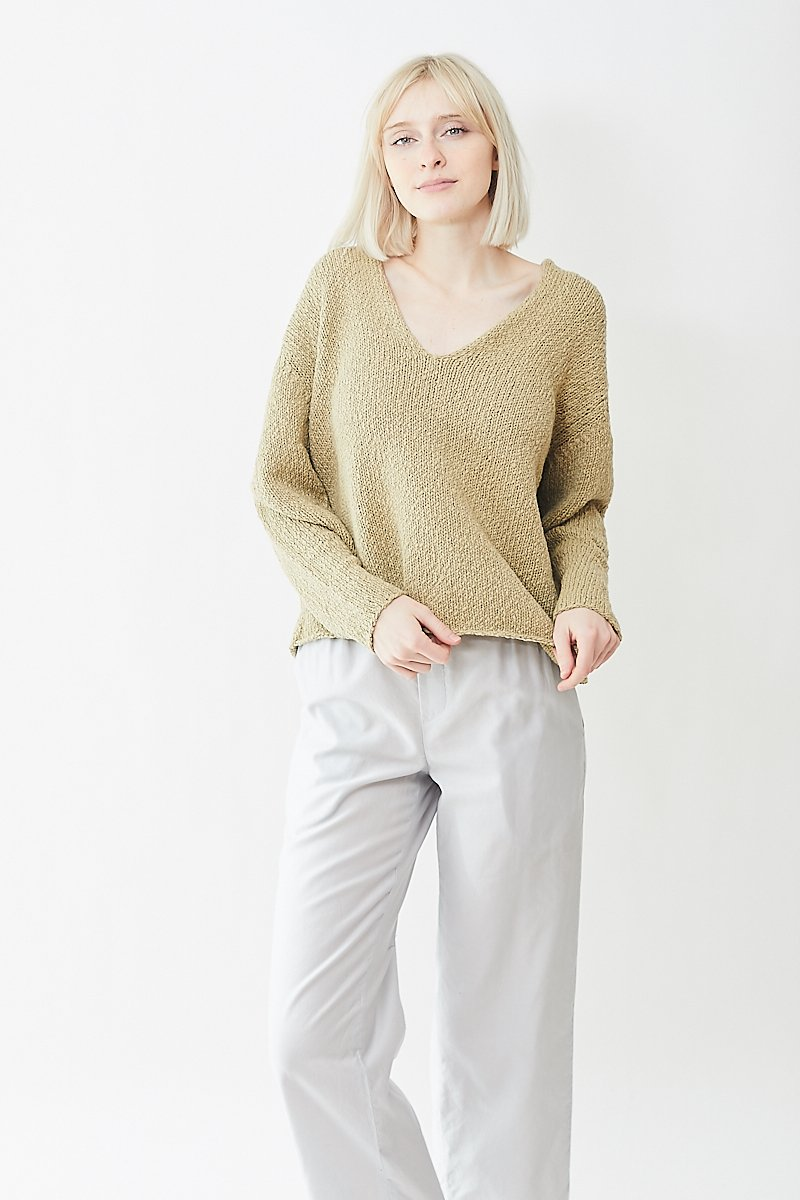 Tomorrowland Rough Cotton V Neck Sweater