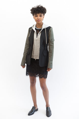 Veronica Beard Army Jacket With Hoodie Dickey