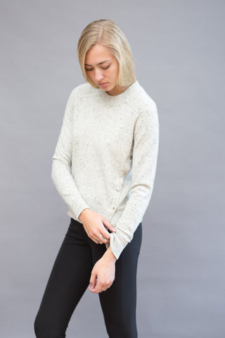 Veronica Beard Cooper Crewneck Sweater With Snap Detail