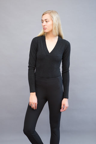 Veronica Beard Decade Lurex V-Neck Body Suit