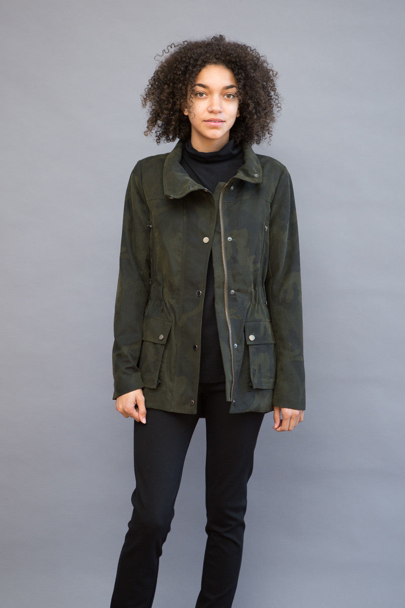 Veronica Beard Glade Funnel Neck Patch Pocket Jacket - grethen house