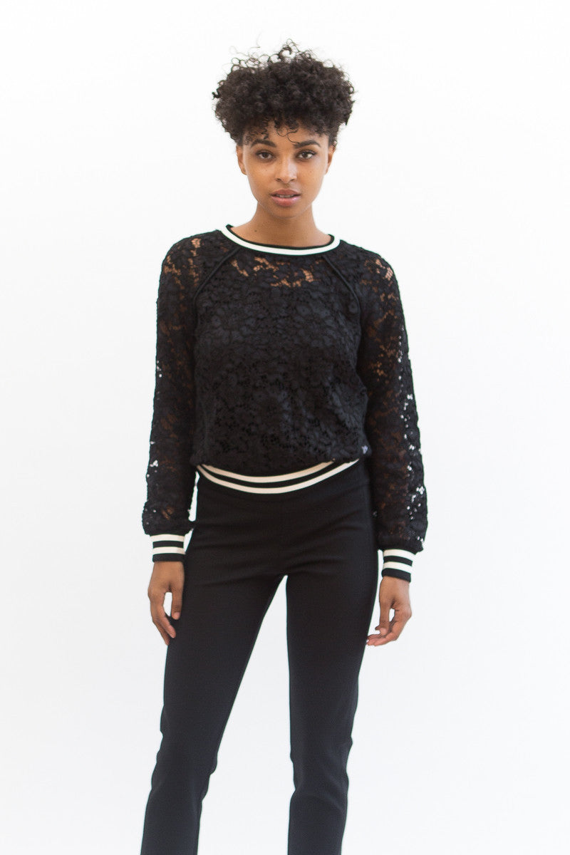 Veronica Beard Jet Lace Sweatshirt