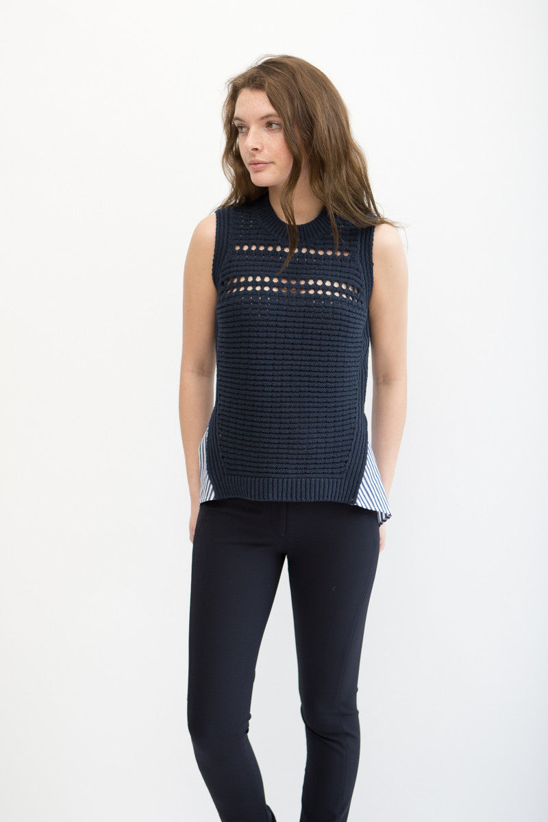 Veronica Beard Par Sleeveless Combo Sweater