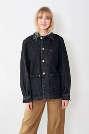Ganni Washed Denim Shirt Jacket