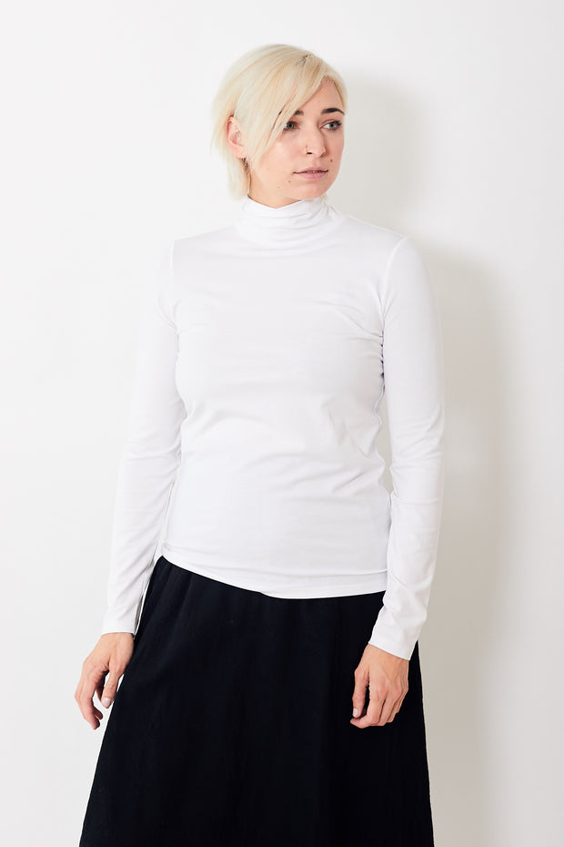White + Warren Cotton Modal Scrunch Neck Tee