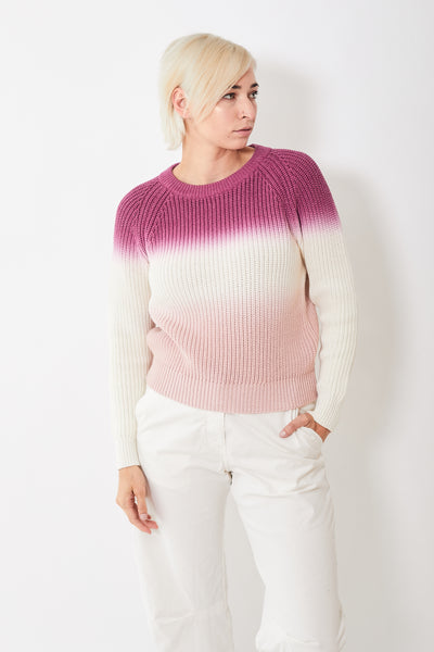 White + Warren Dip Dye Ribbed Crewneck