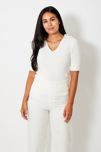 White + Warren Elbow Sleeve Collared V Neck