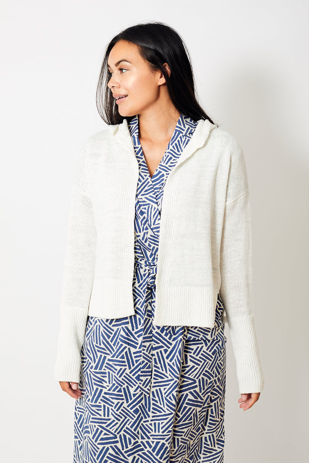 White + Warren Hooded Open Cardigan