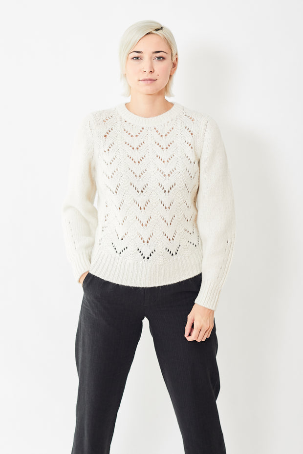 White + Warren Luxe Pointelle Crewneck