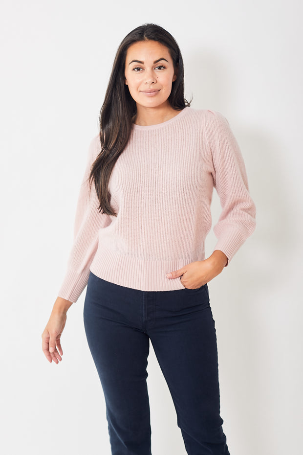 White + Warren Mini Cable Puff Sleeve Crewneck