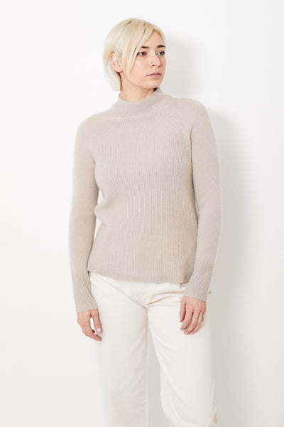 White + Warren Mixed Stitch Standneck