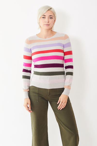 White + Warren Multi Stripe Crew Neck