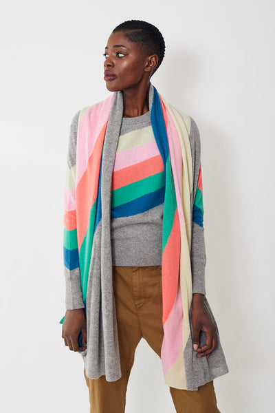 White + Warren Rainbow Intarsia Mini Travel Wrap