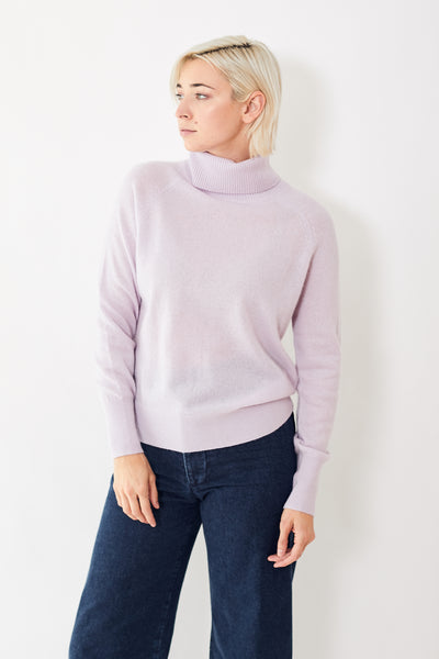 White + Warren Ribbed Trim Turtleneck