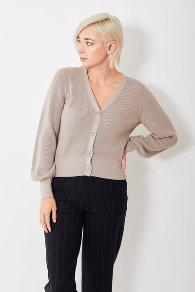 White + Warren Ribbed V Neck Cardigan