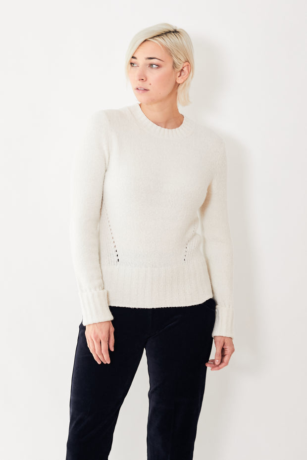 White + Warren Textured Long Sleeve Crew Neck