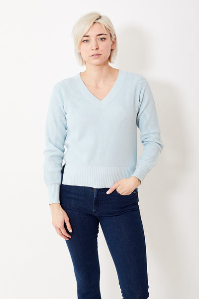 White + Warren Textured Stitch V Neck