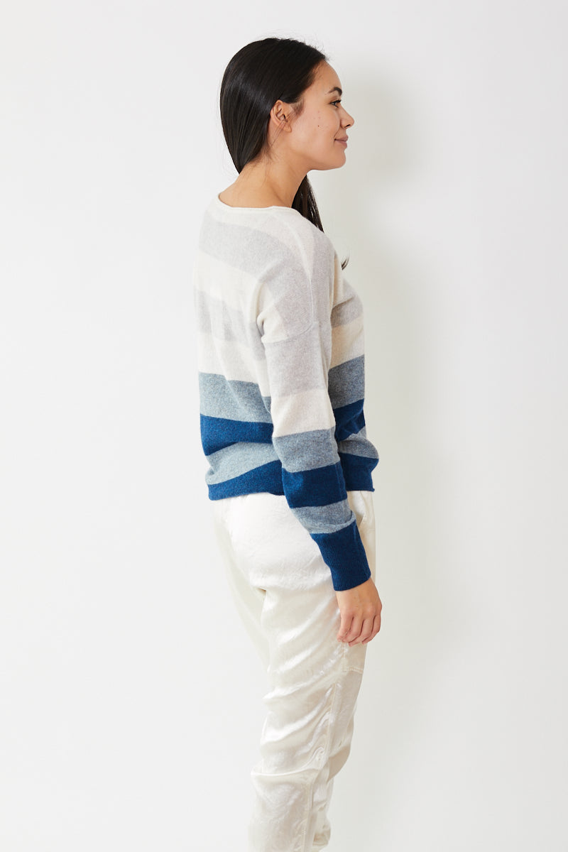 White + Warren Block Stripe Boatneck
