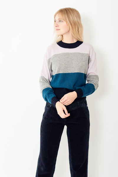 White + Warren Block Stripe Crewneck
