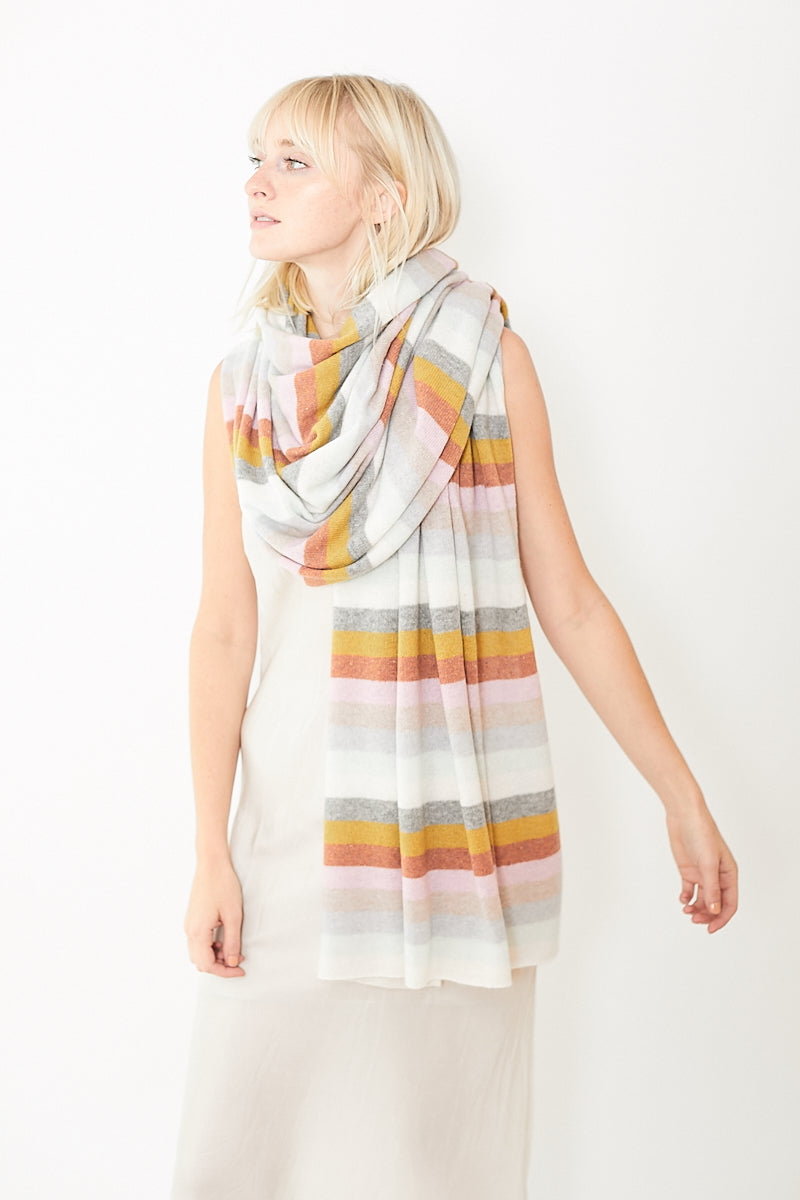White + Warren Cashmere Multi Stripe Travel Wrap