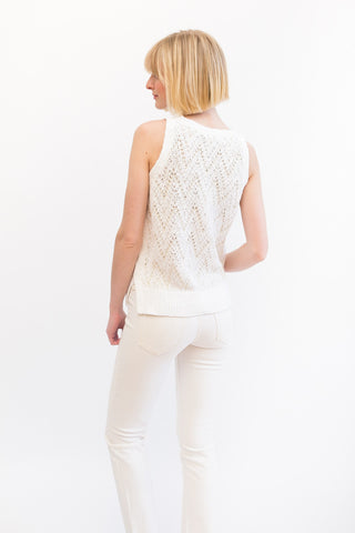 White + Warren Chevron Sleeveless Crew