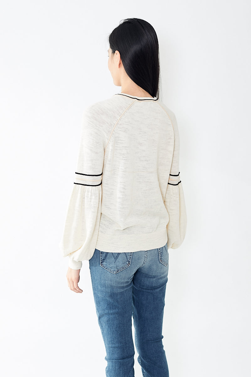 White + Warren Contrast Detail Crewneck