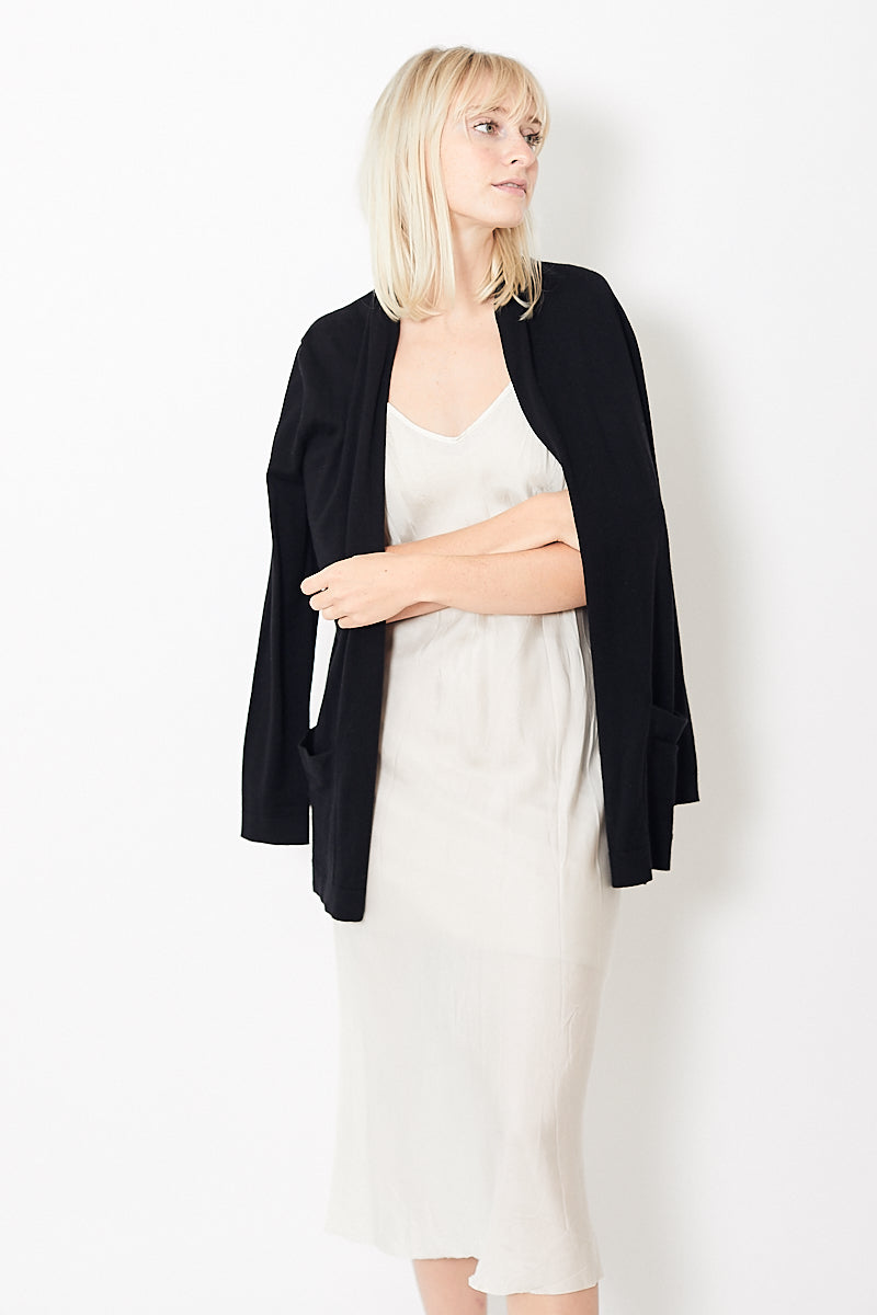White + Warren Cotton Silk Pocket Cardigan