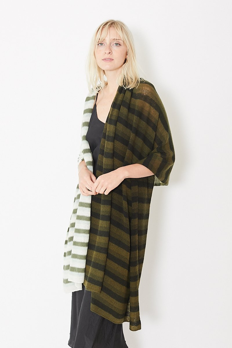 White + Warren Dip Dye Striped Travel Wrap
