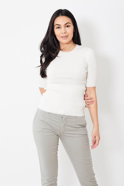 White + Warren Essential Ribbed Crewneck Tee