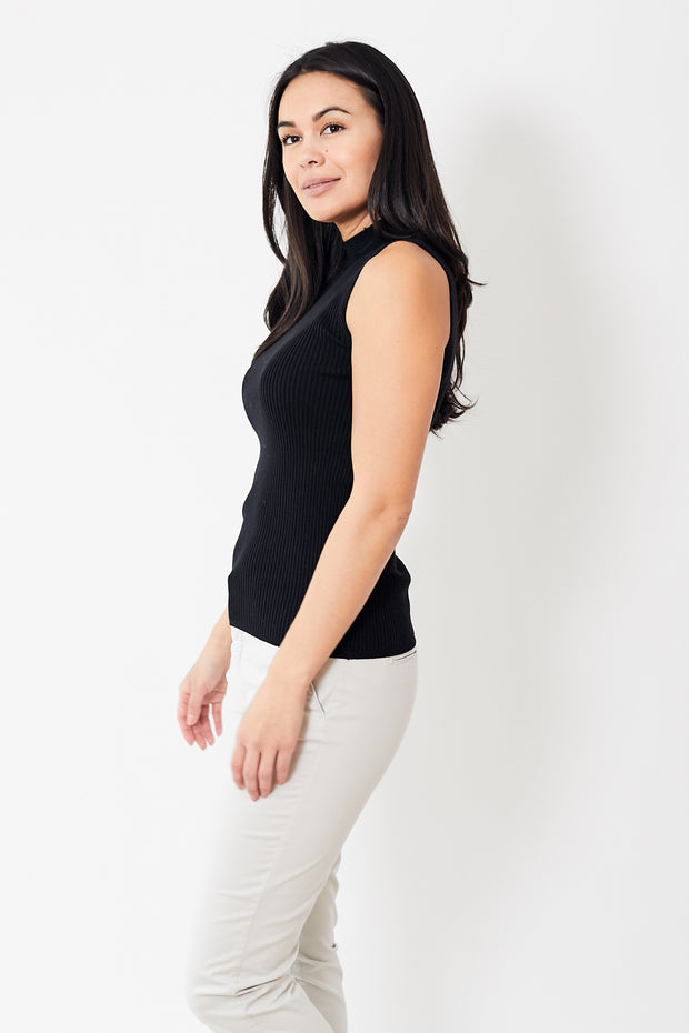 White + Warren Essential Ribbed Mockneck Tank